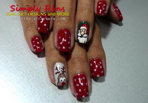 Christmas Nail Art Santa and Rudolph 03