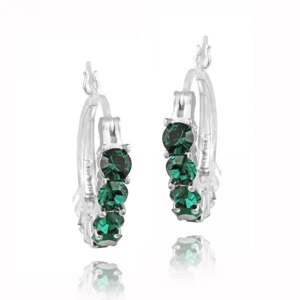 icz-stonez-rhodium-plated-emerald-green-crystal-hoop-earrings