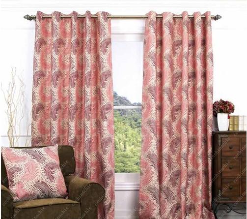 Modern Pink Leaf Window Curtains