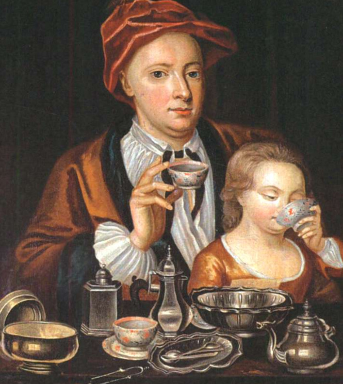 Р. Коллинз. Мужчина с ребенком, пьющий чай. 1720 г.