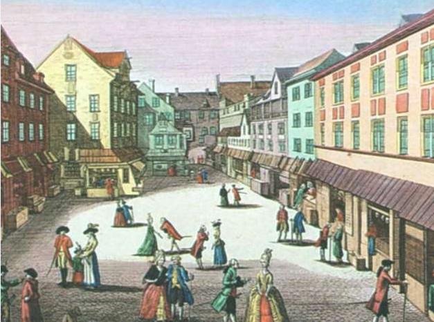 Рыночная площадь в Лейпциге. Гровюра. Вторая половина XVIII в.