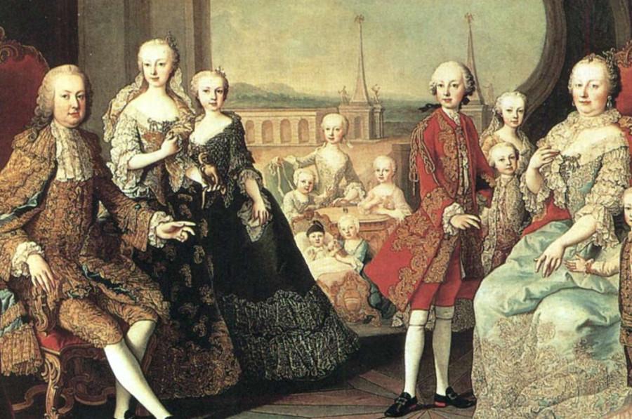 Франц I Стефан и Мария Терезия в семейном кругу. 1754-1755 гг