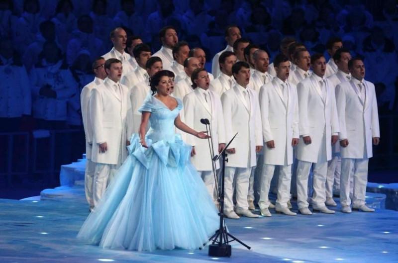 Хор Сретенского монастыря и Анна Нетребко на открытии Олимпийских игр в Сочи