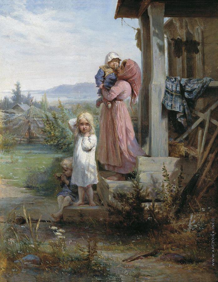 Николай Кошелев (1840-1918) Утро в деревне.
