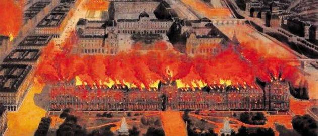 Подожженный коммунарами дворец Тюильри
