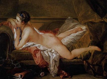 Пятнадцатилетняя Луиза О`Мёрфи, одна из любовниц короля, взращенных мадам де Помпадур в питомнике «Олений парк» (картина современника Ламетри, придворного художника Франсуа Буше).