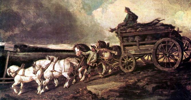 Более совершенного грузового транспорта на дорогах Франции XVIII века не было (картина Т. Жерико «Телега с углем», 1822). Этот факт говорит о многом