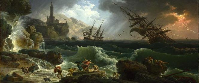 Кораблекрушение. Фрагмент картины французского художника Ж. Верне (50-е годы XVIII века)