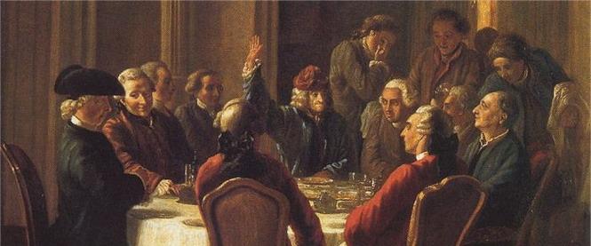 Фрагмент картины Ж. Губера «Обед философов» (1772 г.). В центре с поднятой рукой – Вольтер.
