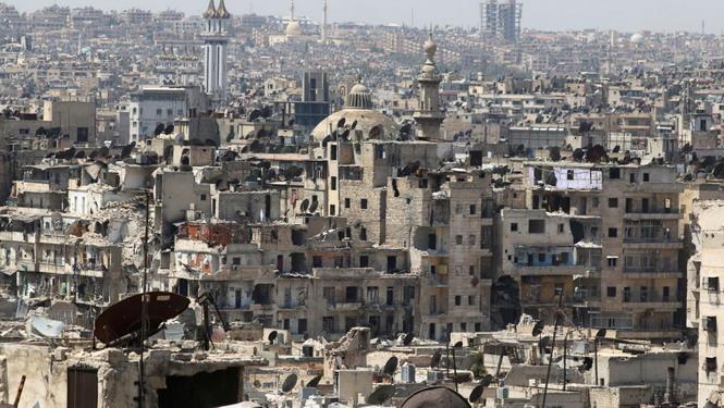 Алеппо в начале бомбардировок