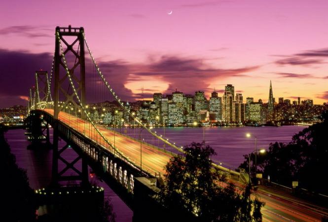 Вид на Сан-Франциско через мост Золотые Ворота с о-ва Йерба-Буэна
