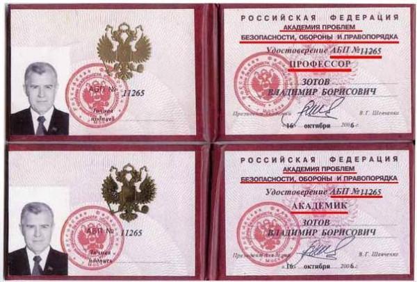 Префект Зотов лже-профессор и лже-академик удостоверения  ВЫДЕЛЕНО_1