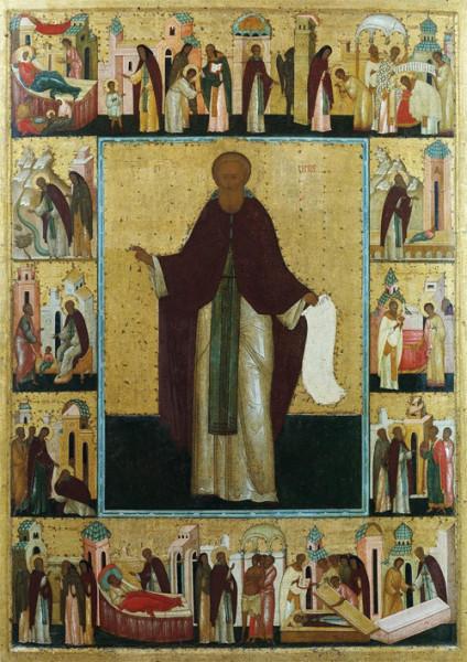 Преподобный Сергий Радонежский с житием. Икона начала XVI века круга Дионисия
