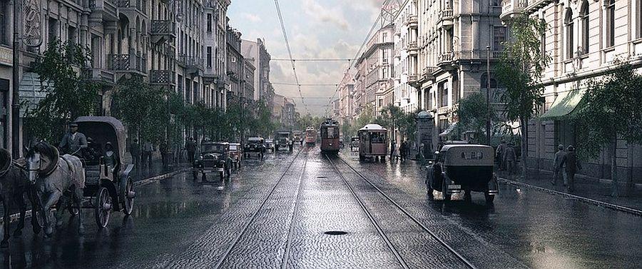 Маршалковская в Варшаве 1935 год 1