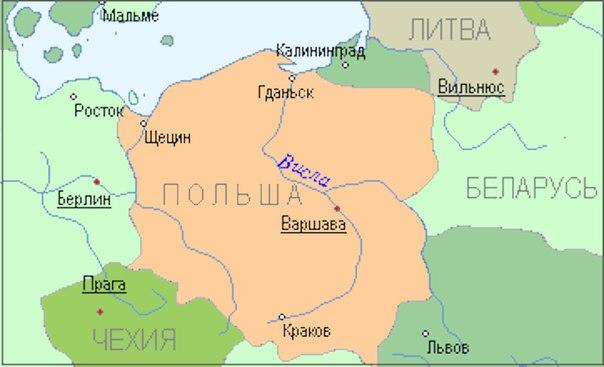 Польша карта общая