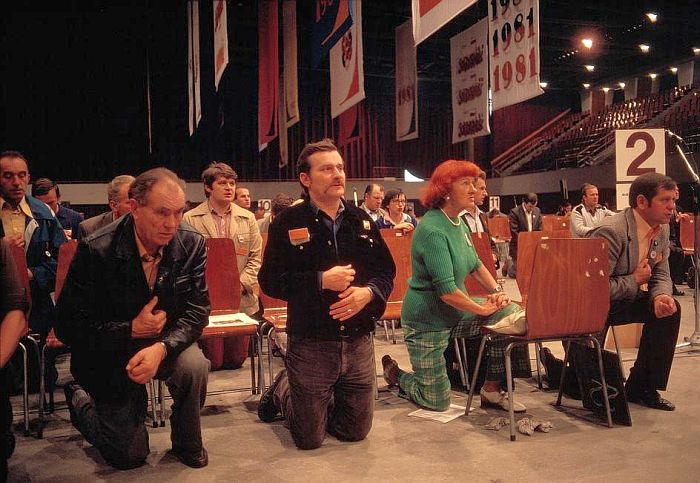 Gdansk. 1981. First National Delegate Congress of Solidarnosc Party. L. WALESA during mass 1
