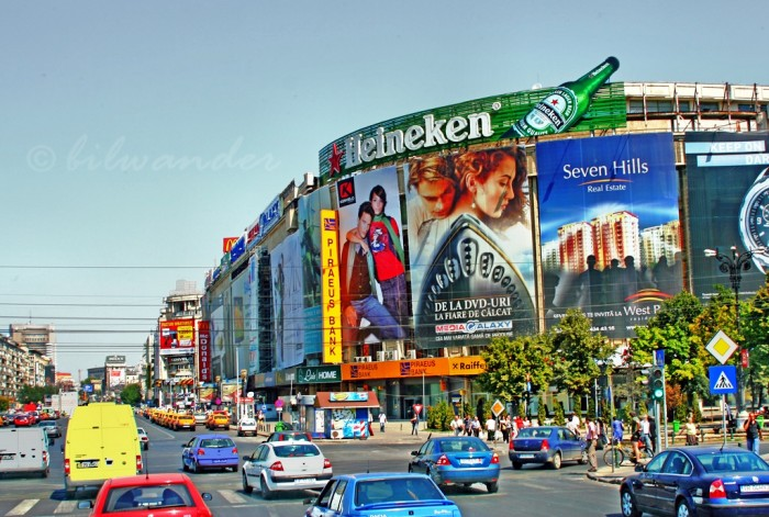 Bucharest, Piata Unirii, commercial corner ad billboards 2
