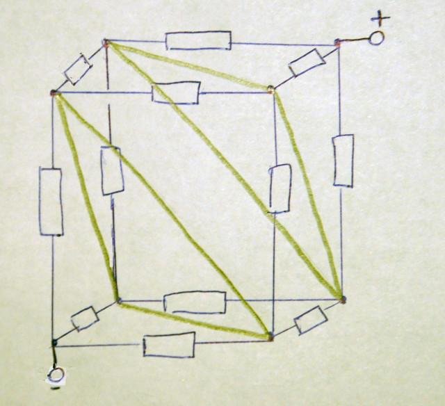 электрическое сопротивление куба - объединим точки с равными потенциалами