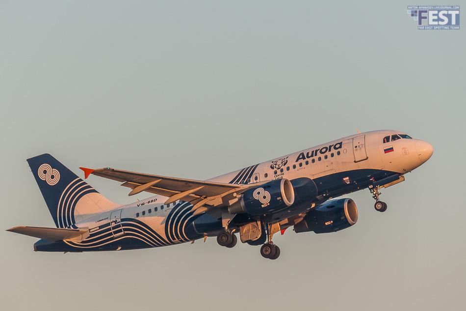 Самолет авиакомпании Аврора в аэропорту Владивосток