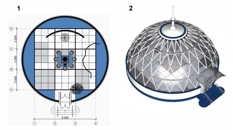 Fig. 2. Parent module: 1 – plan view; 2 – general view