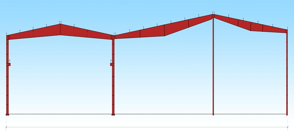 Многопролётная схема каркаса здания из ЛМК: