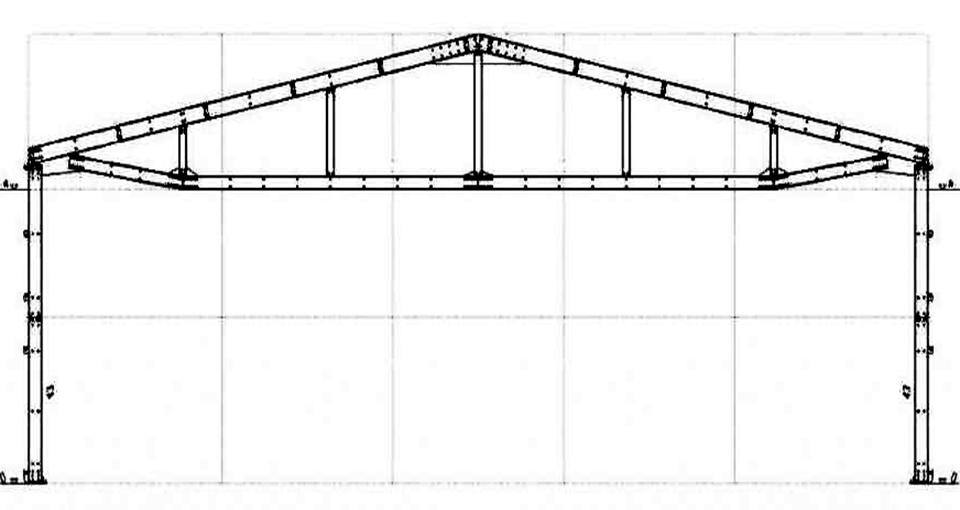 Однопролётная схема здания с каркасом из Оцинкованного профиля