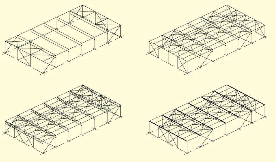 Стальные Каркасы из колонн и структурного покрытия