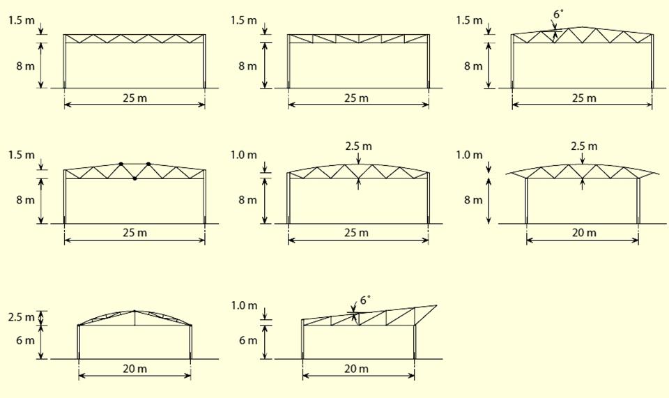 варианты поперечных рам решётчатых стальных каркасов