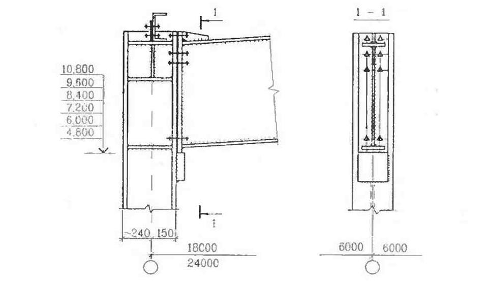 Жёсткий узел сопряжения ригеля с колоннами в однопролётных зданиях