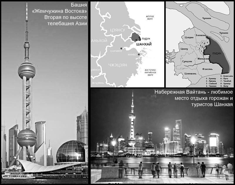 Рис. 5. Специальная экономическая зона в районе Пудун города Шанхая. КНР. Общий вид делового центра с набережной Вайтань