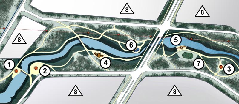 Рис. 2. Пример решения лесопарковой зоны особой экономической зоны «Липецк».1, 2, 3  беседки; 4, 5  площадки отдыха; 6  кафе; 7  стадион; 8 площадки промышленных предприятий