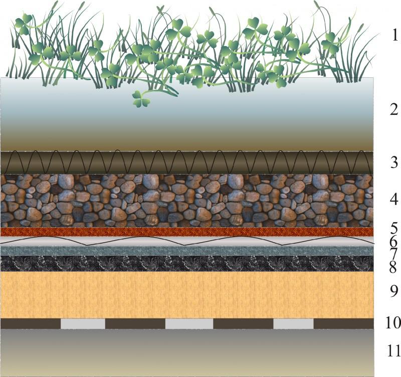 Схема современной конструкции плоской зелёной крыши