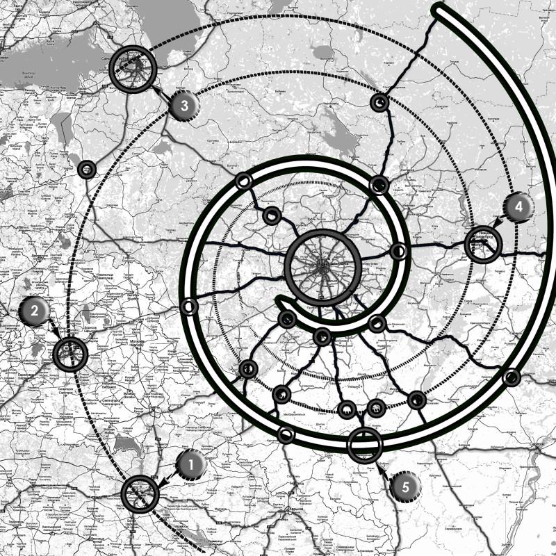 Рис. 1. расположение городов вокруг Москвы