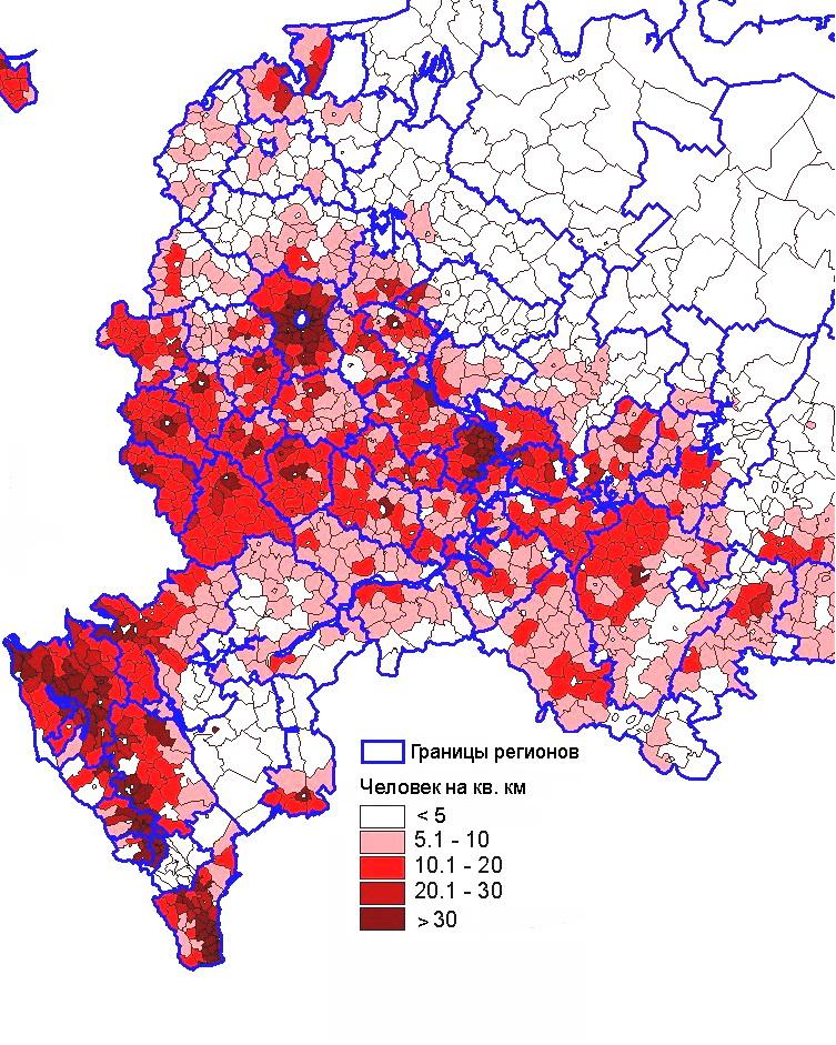 Карта плотности населения центральной европейской части России