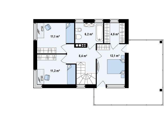 План второго этажа (исходник). Источник: https://www.shop-project.ru/catalog/projects/s3-126-1/
