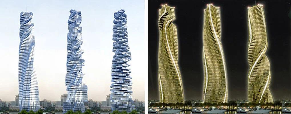 Дубай. Так может выглядеть первый небоскрёб с вращающимися этажами/модулями