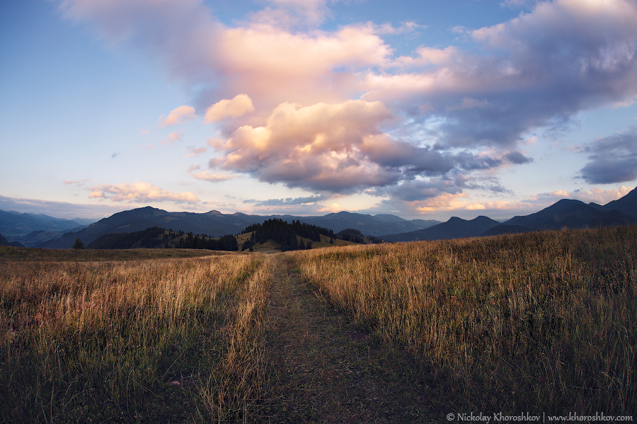 Cloudy sunset in Carpathian mountains