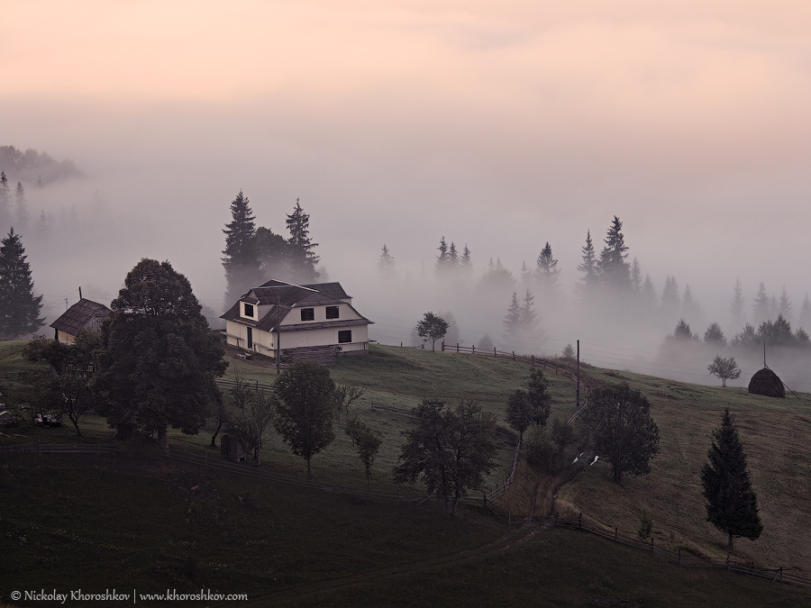 Foggy landscape of Carpathian mountains_9