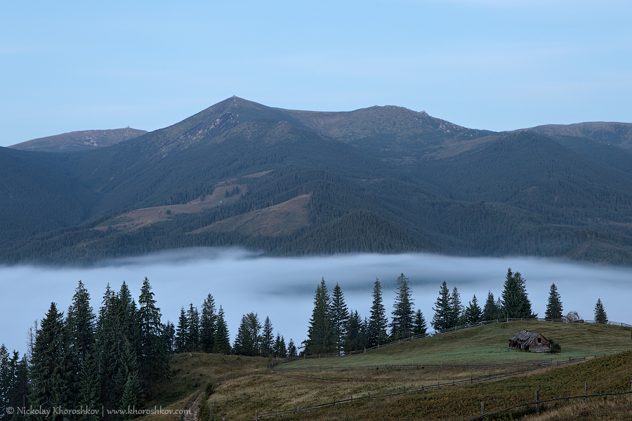 Foggy morning at Carpathian mountains