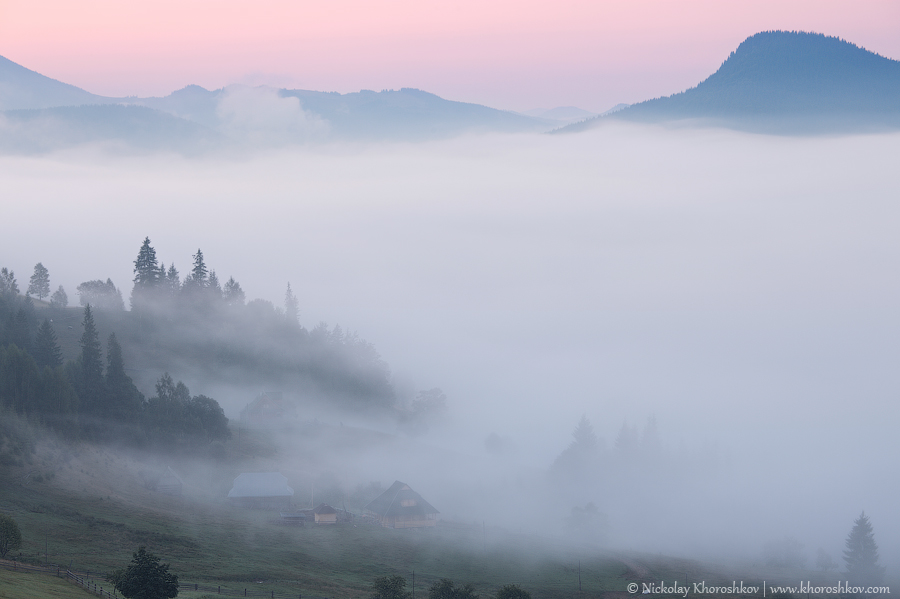 Foggy morning landscape of Carpathian mountains