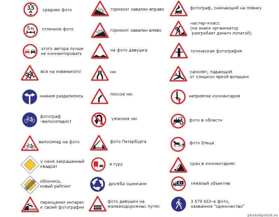 дорожные знаки фото с названиями