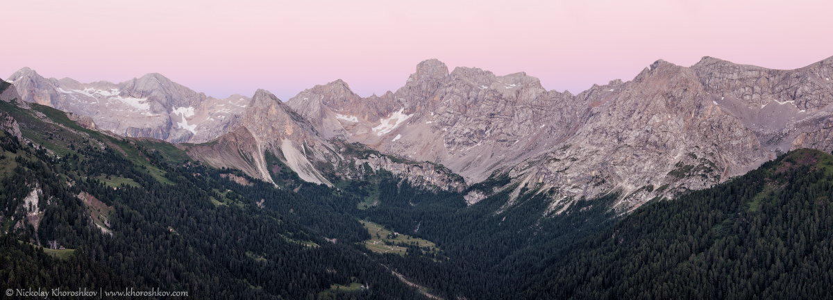 Panoramic view of Marmolada mountains ridge after sunset_2
