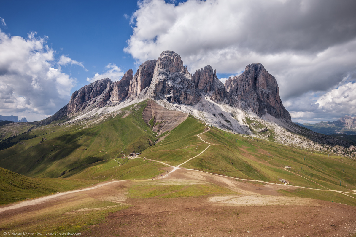 Sassolungo mountain range at sunny day