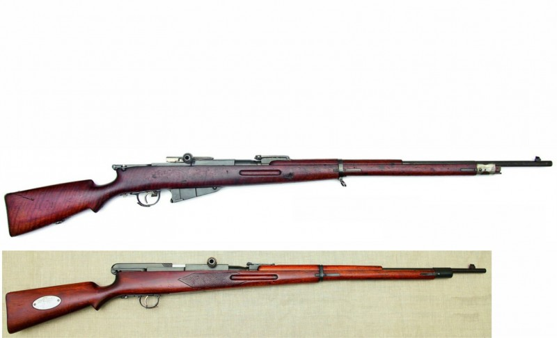 Самозарядные винтовки Федорова 1913 года. Вверху калибра 7.62. Внизу 6.5мм