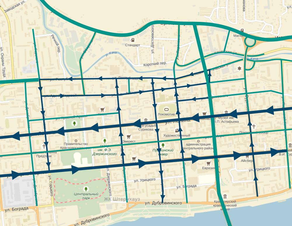 Зеленым - улицы с двусторонним