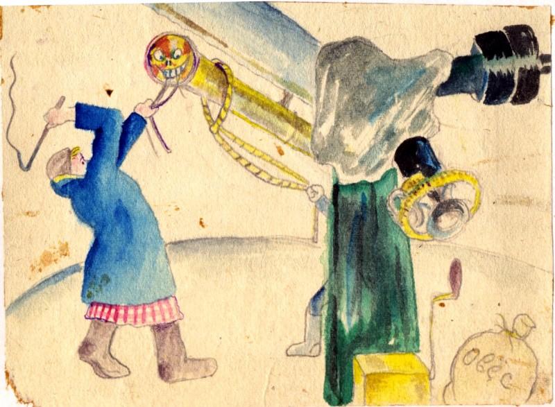 ...с 15-дюймовиком в обсерватории старого ГАИШ: шестиметровая труба телескопа, которую, зацепив инструмент за единственно доступный ее росту искатель, старается повернуть кто-то из наблюдательниц, «взнуздав» его, как строптивого коня, сопротивляющегося, несмотря на все старания и даже заботу (см. мешок овса справа)