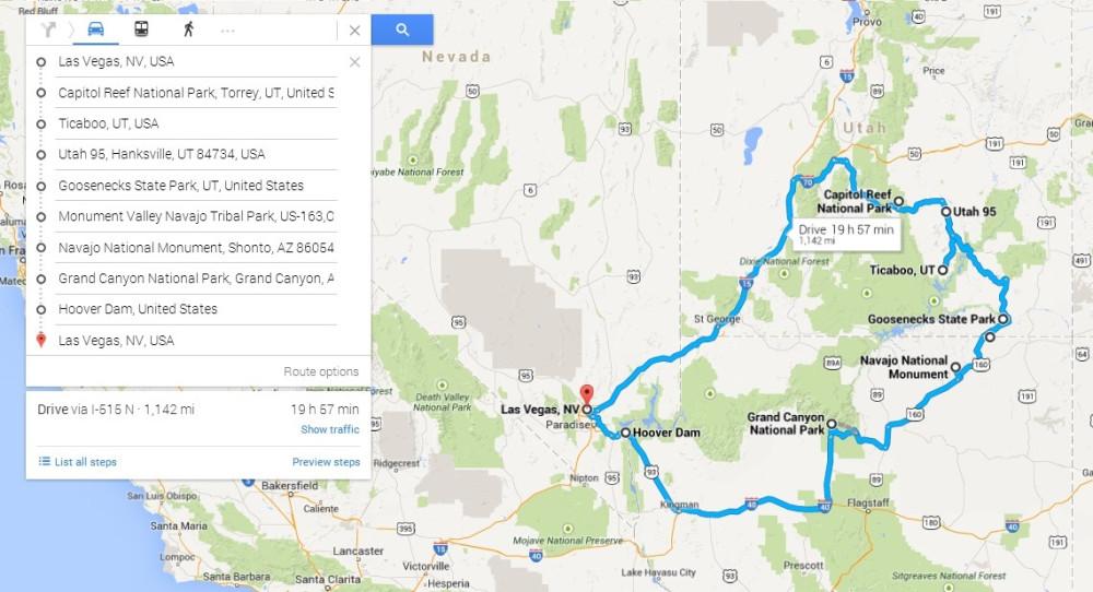 California Nevada Utah Road Map