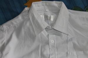 рубашка белая с узором на вороте