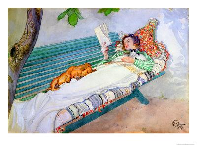 carl-larsson-woman-lying-on-a-bench-1913