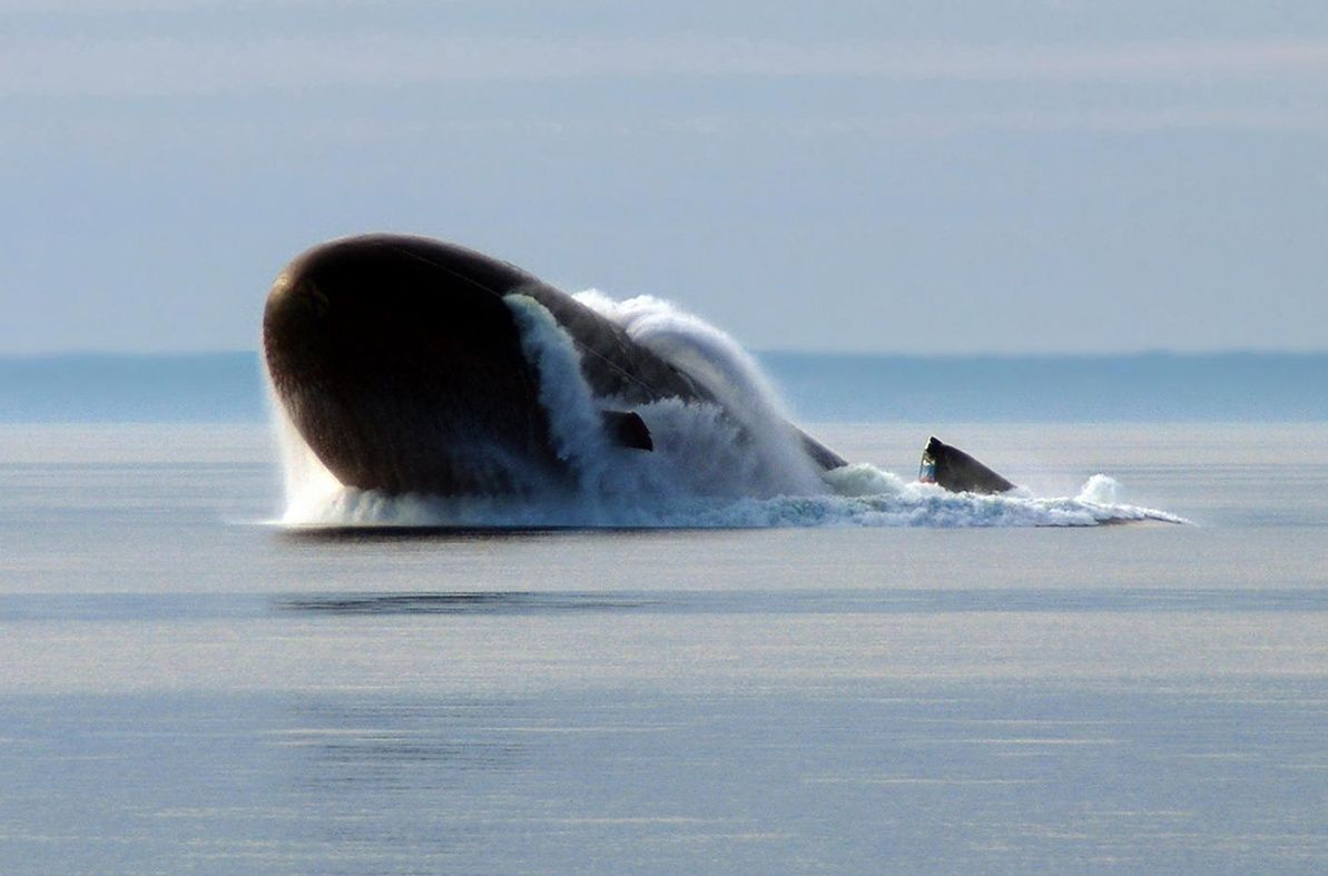 Министерство обороны России сфотографировало эту атомную подводную лодку во время учений в Баренцевом море. ФОТО: Министерство обороны России.